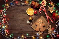 Gingerbread Christmas tree and gifts on table top view. Gingerbread Christmas tree and gifts on wooden table top view Stock Photos