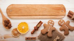 Gingerbread Christmas tree and gifts on table Stock Image
