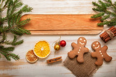 Gingerbread Christmas tree and gifts on table Stock Images