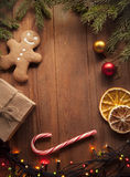 Gingerbread Christmas tree and gifts on table Royalty Free Stock Images