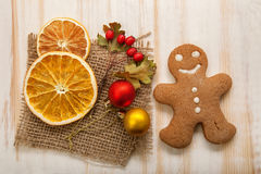 Gingerbread Christmas tree and gifts on table Stock Photos