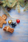 Gingerbread Christmas tree and gifts on table Royalty Free Stock Photos