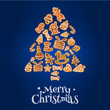 Gingerbread Christmas tree greeting card design Royalty Free Stock Photo