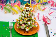 Gingerbread Christmas tree and house. Served Gingerbread Christmas tree with decorations stock photography
