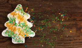 Gingerbread christmas tree icing new year decoration wooden Royalty Free Stock Photos