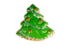 Gingerbread christmas tree isolated on white background. Gingerbread christmas tree isolated on a white background Stock Photography
