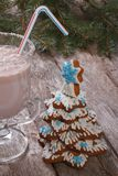 Gingerbread Christmas tree and a milkshake Royalty Free Stock Photos