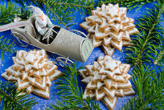 Gingerbread christmas tree and Santa Claus Stock Photos