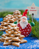 Gingerbread christmas tree and Santa Claus Stock Image