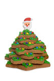 Gingerbread christmas tree with santa face Stock Image