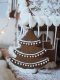 Gingerbread Christmas tree, christmas scenery. Gingerbread Christmas tree with white icing or frosting, christmas scenery with buttercream royalty free stock photography
