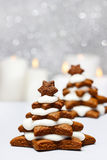 Gingerbread christmas tree on wooden table Royalty Free Stock Images