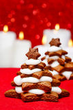 Gingerbread christmas tree on wooden table Stock Image