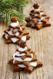 Gingerbread christmas tree on wooden table Royalty Free Stock Photography
