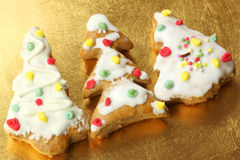 Gingerbread Christmas trees with ornaments Stock Images