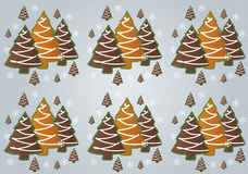 Gingerbread Christmas Trees pattern Royalty Free Stock Photo