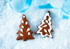 Gingerbread Christmas trees on snow Stock Photography