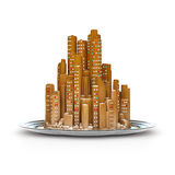 Gingerbread city concept. 3D illustration of modern city made of gingerbread on silver platter Stock Photography