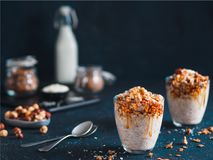 Gingerbread coconut overnight oats Royalty Free Stock Photo