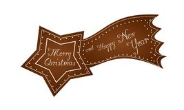 Gingerbread comet. Illustration of gingerbread comet with text Merry Christmas and Happy New Year Royalty Free Stock Image