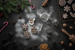 Gingerbread coockies christmas background stock photo