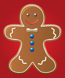 Gingerbread cookie. Vector illustration of gingerbread cookie on red background royalty free illustration
