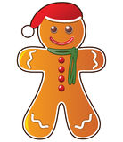 Gingerbread cookie. Vector illustration of gingerbread cookie with santa's hat vector illustration
