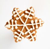 Gingerbread cookie. In the shape of snowflake stock images