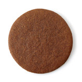 Gingerbread cookie. Round gingerbread cookie on white background stock images