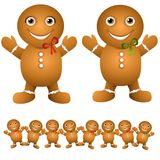 Gingerbread Cookie Babies. A cli part illustration featuring an assortment of gingerbread 'babies' - boy and girl, with bottom row for use as a border Stock Photo
