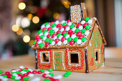 Gingerbread cookie and candy ginger house Royalty Free Stock Photos