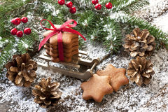 Gingerbread cookie and Christmas decorations Stock Images