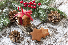 Gingerbread cookie and Christmas decorations Royalty Free Stock Photo