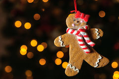 Gingerbread cookie on the christmas tree Royalty Free Stock Image