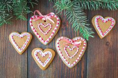 Traditional Christmas gingerbread with a glaze on a wooden background stock image