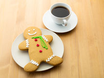 Gingerbread cookie and coffee Stock Photography