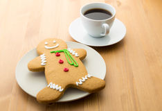 Gingerbread cookie and coffee Stock Photos