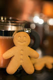 Gingerbread cookie and coffee Royalty Free Stock Photography