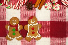 Gingerbread cookie couple on a red and white checked cloth Stock Images