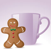 Gingerbread cookie and a cup Stock Images