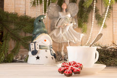 Gingerbread cookie and cup of tea. Christmas New Year holiday co Royalty Free Stock Image