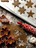 Gingerbread cookie cutouts. Top view of gingerbread cookie preparations stock photos