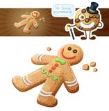 Gingerbread cookie. Decorttive Xmas gingerman illustration. Cartoon vector icon. Isolated on white background Royalty Free Stock Images