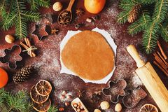 Gingerbread cookie dough and decorations for Christmas winter holidays Stock Image