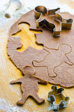 Gingerbread cookie dough with men. Gingerbread dough for gingerbread men Stock Image