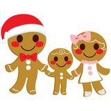 Gingerbread Cookie Family. Cute happy sweet gingerbread cookie family holding hands on Christmas day stock illustration