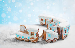 Gingerbread cookie in the form a Christmas train Royalty Free Stock Photo