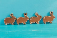 Gingerbread cookie in the form of rabbits. Stock Photos