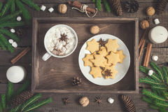 Gingerbread Cookie in the form of stars and cup of cocoa on rustic tray. Christmas food background Stock Images