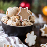 Gingerbread Cookie Ice Cream. Homemade gingerbread ice cream for Christmas Stock Photos